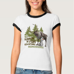 Ladies Ringer T-Shirt with Sven & Olaf - Always Up for Adventure design