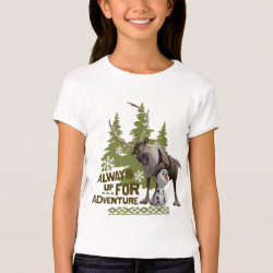 Girls' Bella+Canvas Fitted Babydoll T-Shirt with Sven & Olaf - Always Up for Adventure design
