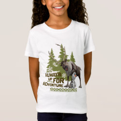 Girls' Fine Jersey T-Shirt with Sven & Olaf - Always Up for Adventure design