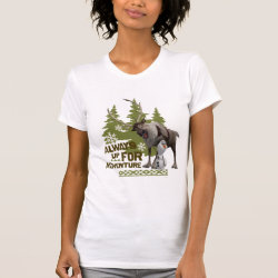 Women's American Apparel Fine Jersey Short Sleeve T-Shirt with Sven & Olaf - Always Up for Adventure design