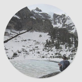 Frozen Amphitheater Lake in the Tetons Round Stickers