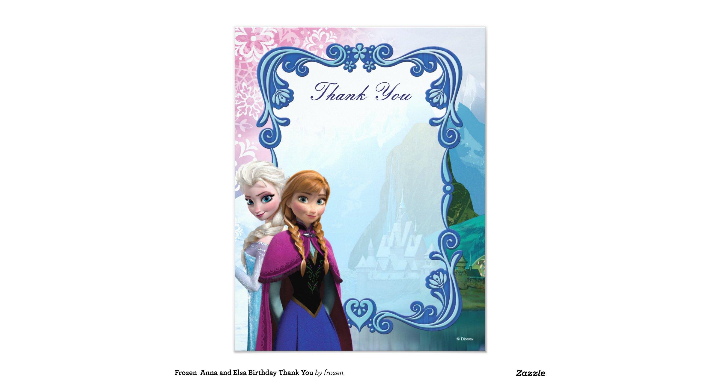 Snap Frozen Anna and Elsa Snowflake Birthday Invitation Zazzle ...