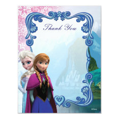 Frozen  Anna And Elsa Birthday Thank You Card at Zazzle
