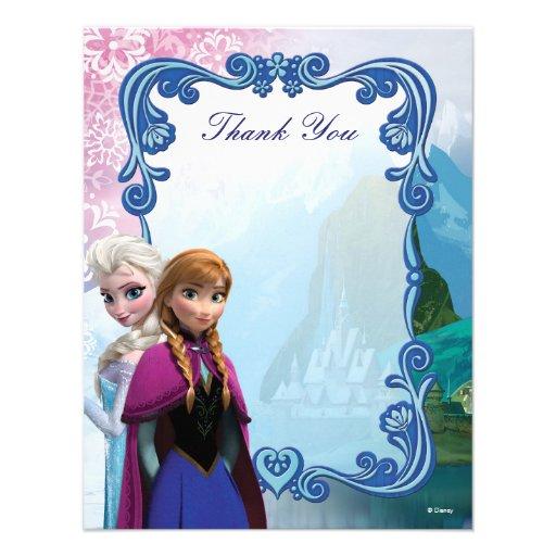 Frozen  Anna and Elsa Birthday Thank You Invite