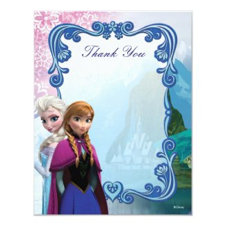 Frozen Anna and Elsa Birthday Thank You 4.25x5.5 Paper Invitation Card