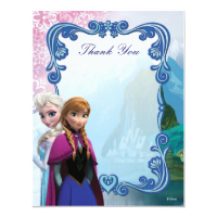 Frozen  Anna and Elsa Birthday Thank You Invite