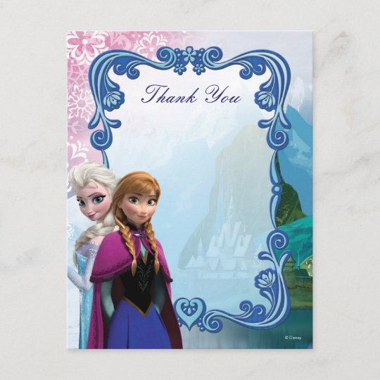 Frozen Anna And Elsa Birthday Thank You Note Card Zazzle