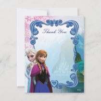 Frozen  Anna and Elsa Birthday Thank You Note Card