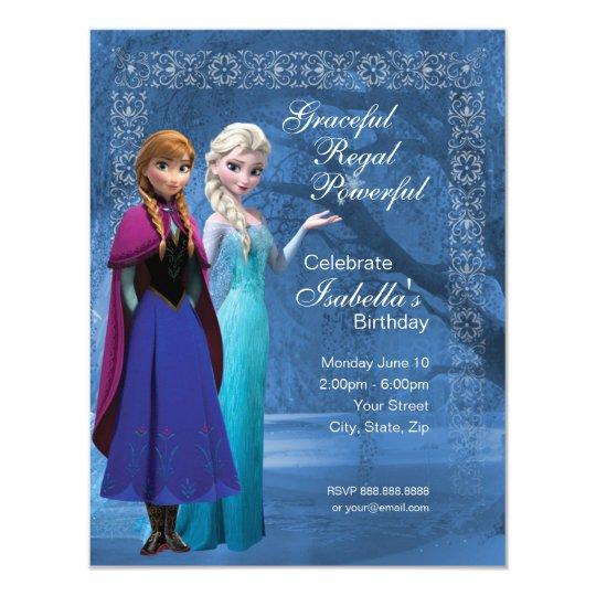 Frozen Anna And Elsa Snowflake Birthday Invitation
