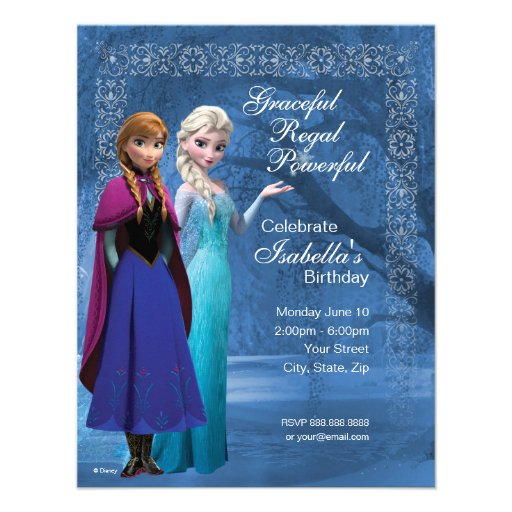 Frozen Anna and Elsa Snowflake Birthday Invitation Personalized Invites