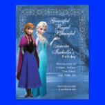 "Frozen Anna and Elsa Snowflake Birthday Invitation 4.25"" X 5.5"" Invitation Card"