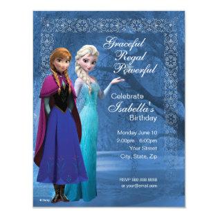 Frozen Anna and Elsa Snowflake Birthday Invitation 4.25