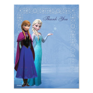 Frozen Anna and Elsa Snowflake Thank You Card