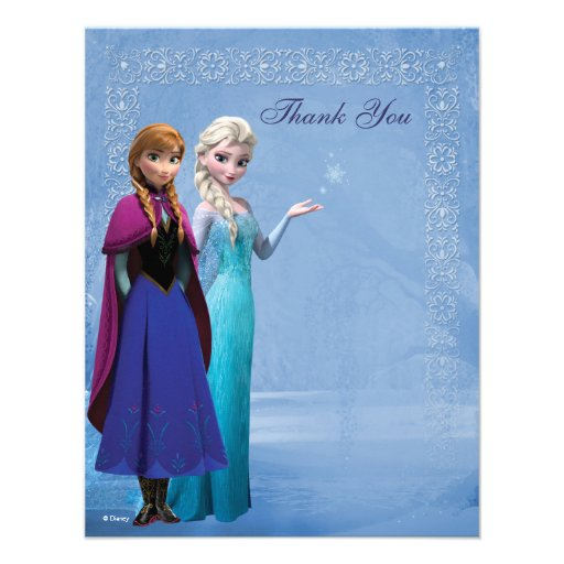 Frozen Anna and Elsa Snowflake Thank You Custom Invitation (front side)