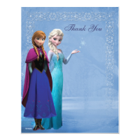 Frozen Anna and Elsa Snowflake Thank You Custom Invitation
