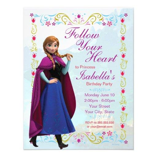 Frozen anna birthday invitation custom invitation zazzle