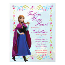 4.25' x 5.5' Invitation / Flat Card with Disney's Frozen Anna design