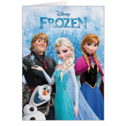 Greeting Card with Frozen's Anna, Elsa, Kristoff & Olaf design