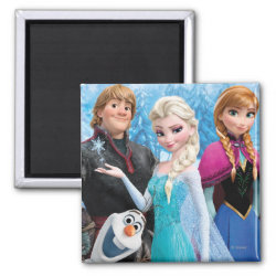 Square Magnet with Frozen's Anna, Elsa, Kristoff & Olaf design