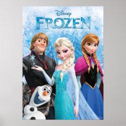 Matte Poster with Frozen's Anna, Elsa, Kristoff & Olaf design