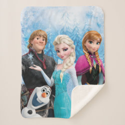 Sherpa Blanket with Frozen's Anna, Elsa, Kristoff & Olaf design