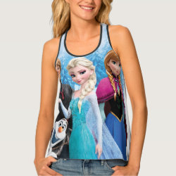 Women's All-Over Print Racerback Tank Top with Frozen's Anna, Elsa, Kristoff & Olaf design