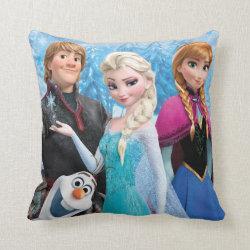 Cotton Throw Pillow with Frozen's Anna, Elsa, Kristoff & Olaf design