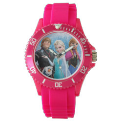 Women's Sporty Pink Silicon Watch with Frozen's Anna, Elsa, Kristoff & Olaf design