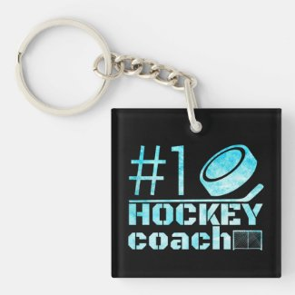 Frozen blue - #1 hockey coach keychain