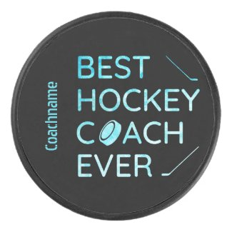 Frozen blue - best hockey coach ever hockey puck