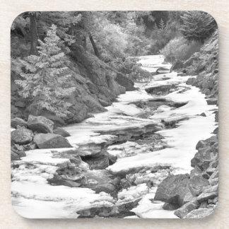 Frozen Boulder Creek Boulder Canyon Colorado BW Beverage Coaster