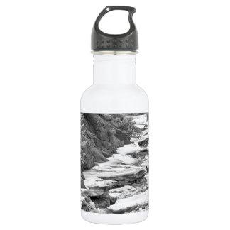 Frozen Boulder Creek Boulder Canyon Colorado BW Stainless Steel Water Bottle