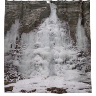 Frozen Canyon Waterfall Shower Curtain