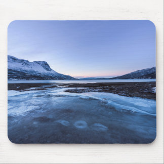 Frozen Creek on the Shore of Narvik Fjord Mousepad