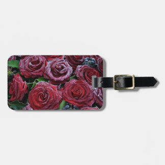 Frozen Dark Red Roses On A Grave Bag Tag