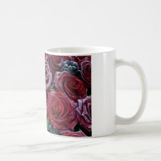 Frozen Dark Red Roses On A Grave Coffee Mug