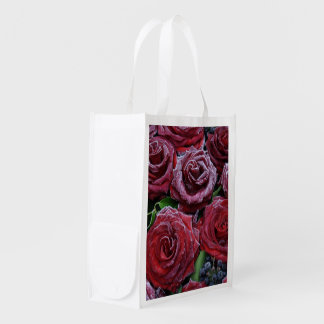 Frozen Dark Red Roses On A Grave Grocery Bag