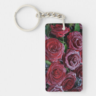Frozen Dark Red Roses On A Grave Keychain