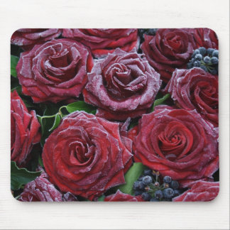Frozen Dark Red Roses On A Grave Mouse Pad