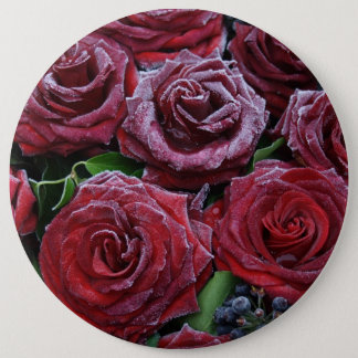 Frozen Dark Red Roses On A Grave Pinback Button