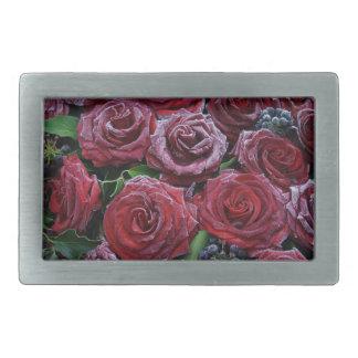 Frozen Dark Red Roses On A Grave Rectangular Belt Buckle