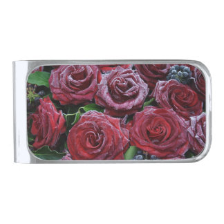Frozen Dark Red Roses On A Grave Silver Finish Money Clip