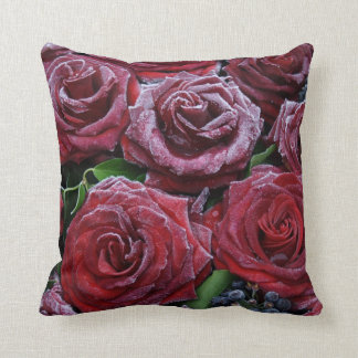 Frozen Dark Red Roses On A Grave Throw Pillow