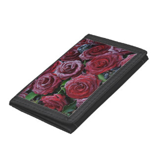 Frozen Dark Red Roses On A Grave Tri-fold Wallets