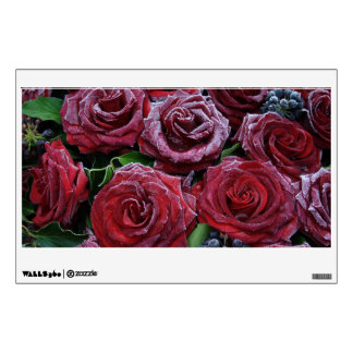 Frozen Dark Red Roses On A Grave Wall Decal