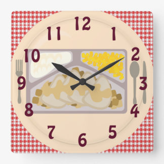 Frozen Dinner on a Plate Square Wall Clock