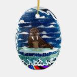 frozen dinner walrs Double-Sided oval ceramic christmas ornament