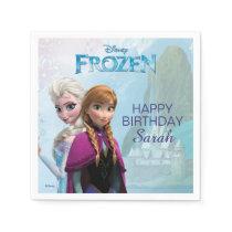 Frozen Elsa and Anna Birthday Paper Napkin
