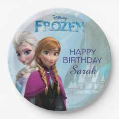 Frozen Elsa And Anna Birthday Paper Plate at Zazzle
