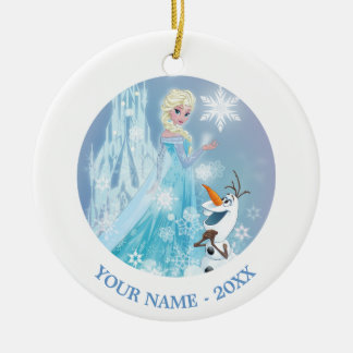 Frozen   Elsa and Olaf - Icy Glow Add Your Name Ceramic Ornament